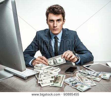 Dull Businessman Dissatisfied With His Earnings, Profit, Income, Gain, Benefit, Margin / M