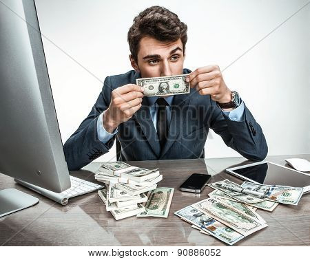 Unfortunate Businessman Dissatisfied With His Earnings, Profit, Income, Gain, Benefit, Mar