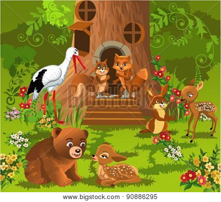 forest animals living in the tree house