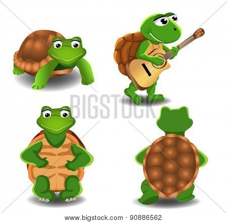 set of four cartoon turtles