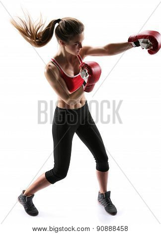 Female Boxer Punching Wearing Boxing Gloves / Photo Set Of Sporty Muscular Female Brunette Girl Wear
