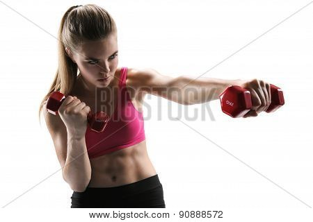 Pretty Young Woman Doing Push Exercise With A Dumbbell As A Part Of A Fitness Workout