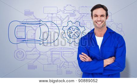 Happy mechanic with arms crossed over white background against grey vignette