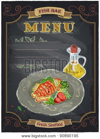 Fish bar menu sign with grilled salmon steak on a plate chalkboard design.