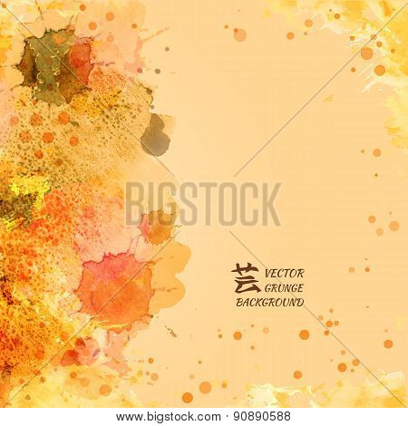 Vector template poster with watercolor paint and floral abstract background.