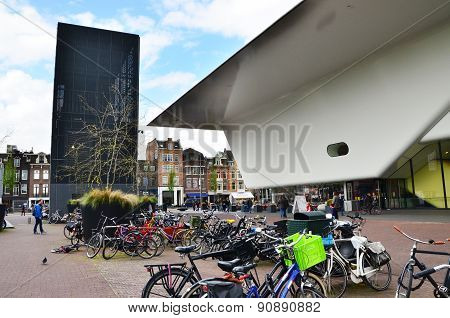 Amsterdam, Netherlands - May 6, 2015: People Visit Famous Stedelijk Musem In Amsterdam