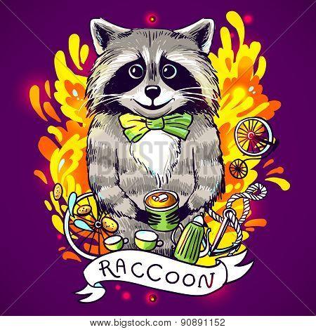 raccoon drinks tea