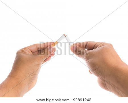 World No Tobacco Day : Broken cigarette in man hands