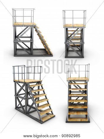 Stairways To Access The Ramp With Different Angles