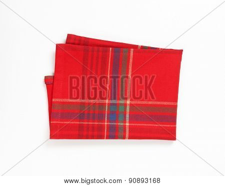 red and blue place mat on white background