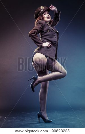 Lady, pinup girl in sexy clothes era of World War II