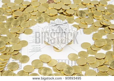 Gift Box On Gold Coins Have Gold Coins Around