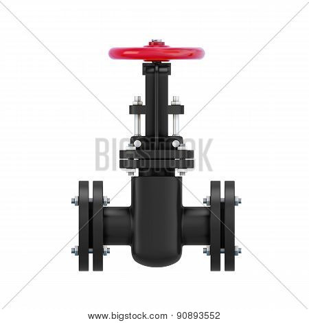 Black Pipeline Element With The Valve