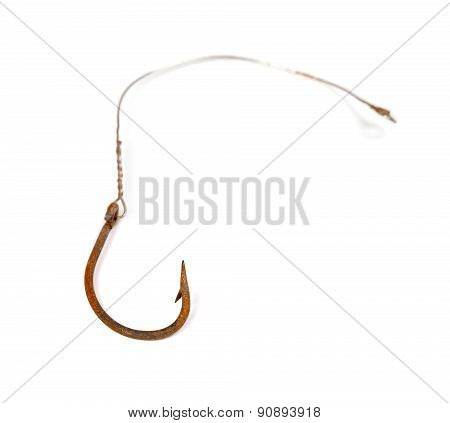 Old Rusty Fishhook Isolated On White Background