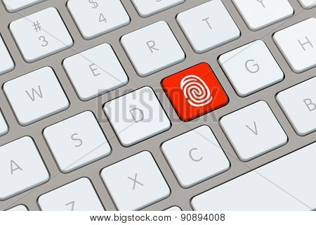 Red key with fingerprint icon on a computer keyboard (3D Rendering)