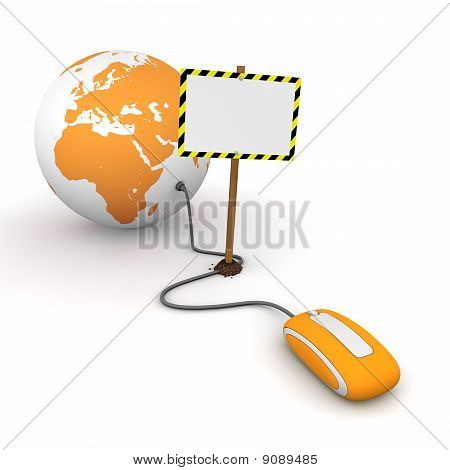 Surfing The Web In Orange - Blocked By A White Rectangular Sign With Warning Stripes