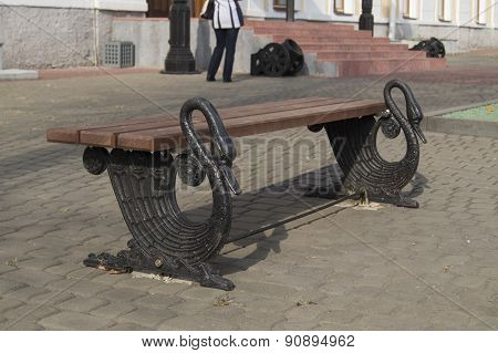 Unique bench with legs in the form of black swans