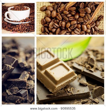 Chocolate against wooden shovel with coffee beans