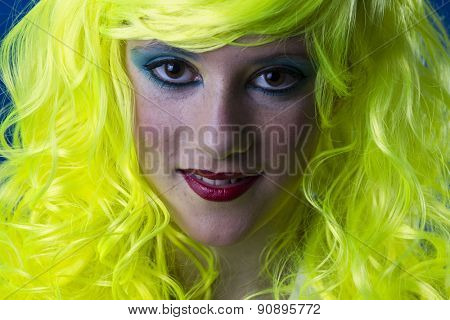 Smile, young girl with yellow hair