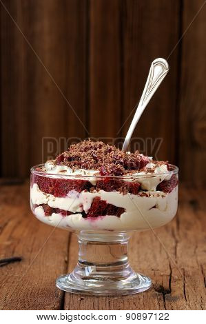 Rye Bread Tiramisu With Cherries, Chocolate And Silver Spoon On Wooden Background Copyspace