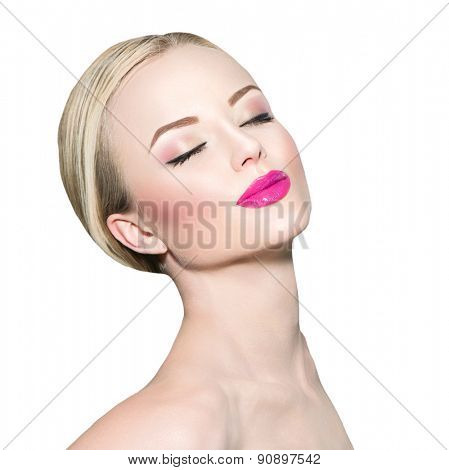 Beautiful Face of Young Woman with Clean Fresh Skin close up isolated on white. Beauty Portrait. Beautiful Spa blond Girl Smiling. Perfect Fresh Skin. Pure Beauty Model. Youth and Skin Care Concept