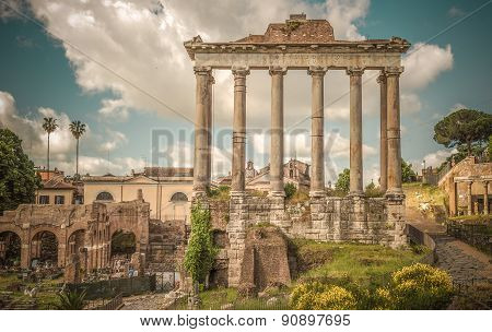 Retro Style Image Of Ancient Roman Forums In Rome, Italy