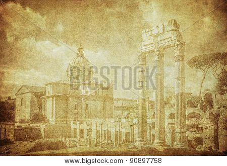 Vintage Image Of Ancient Roman Forums In Rome, Italy