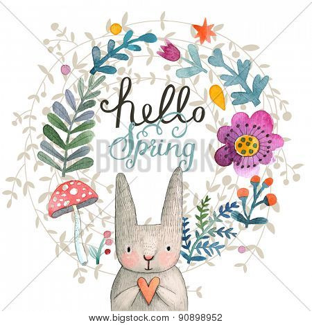 Cute card with lovely Rabbit with heart, flowers, leafs and mushroom in awesome colors. Lovely spring theme set made in watercolor technique. Bright forest concept card with text in vector