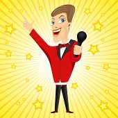 picture of singer  - illustration of smiling successful young singer with microphone and red suit - JPG