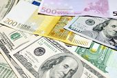 pic of two dollar bill  - Background of euro and dollar bills - JPG