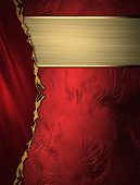 picture of gold  - Abstract red background with a gold border on red background with gold ribbon - JPG