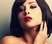picture of desire  - Bright makeup red lips woman with desire look and smokey eyes - JPG