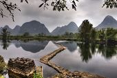 image of dam  - The dam on the river Yulong in spring at low water amid the picturesque countryside of Guilin with peaks of karst hills Yangshuo County Guangxi Province southwest China - JPG