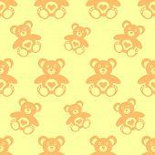 stock photo of cute bears  - Vector seamless pattern with little cute teddy bears - JPG
