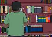 stock photo of single man  - Single African man in green looking at bookshelves - JPG