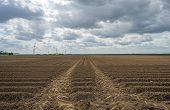 stock photo of plowed field  - Plowed field with furrows under deteriorating weather - JPG