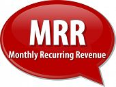 stock photo of revenue  - word speech bubble illustration of business acronym term MRR Monthly Recurring Revenue - JPG