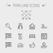 stock photo of tub  - Real estate thin line icon set for web and mobile - JPG
