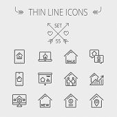 stock photo of flat-bed  - Real estate thin line icon set for web and mobile - JPG