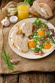 foto of redneck  - Spring omelette with bacon egg and herbs homemade rustical bread - JPG