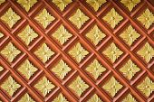 stock photo of carving  - Close up Thai style wood carving texture and background - JPG