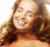 foto of windswept  - Wellness and spa. Sensual woman model with windswept flying blond hair. Shiny long health hairstyle. Beauty and haircare. ** Note: Soft Focus at 100%, best at smaller sizes - JPG