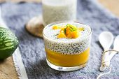 foto of mango  - Chia in homemade soy milk with mango puree and mango chunk - JPG