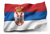 picture of serbia  - Waving flag of Serbia isolated on white background - JPG