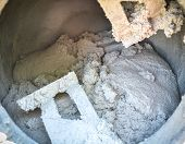 foto of mixer  - Cement or mortar is inside cement mixer - JPG