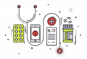 pic of diagnostic medical tool  - Thin line flat design of medicine diagnostic and medication prescription healthcare equipment medical app service on smartphone - JPG