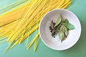 foto of salt-bowl  - Spaghetti And Bowl With Bay Leaves - JPG