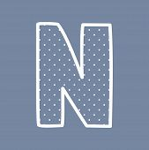 image of letter n  - N hand drawn vector letter with small white polka dots on navy blue background - JPG