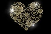 foto of precious stones  - Diamond Gold flare and precious stones isolated on black background - JPG