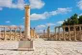 picture of cardo  - Ruins at Jerash Jordan center of the Forum Cardo - JPG